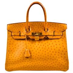 "Hermes 'Saffron' Orange Tan Ostrich Leather 35cm ""Birkin"" Handbag"