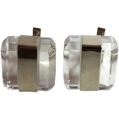 21st Century JUDITH HENDLER Ultra-cool ICY Acrylic Sterling Cufflinks