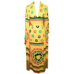 Lanvin 1970s Yellow Halter Dress with Fringe Trimmed Shawl