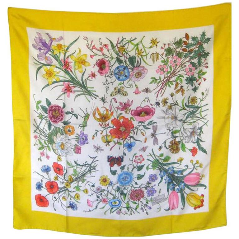 1970's Gucci Floral Scarf  1