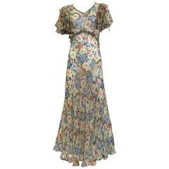 1930s silk chiffon floral print summer dress