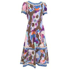 1970s Bessie multi color print matte jersey dress
