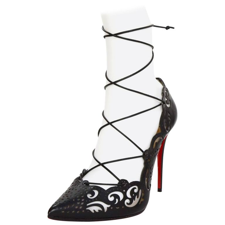 low priced d379b c0eeb Christian Louboutin SOLT OUT Laser Cut Impera 100mm Lace Up Pumps sz 39.5