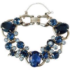 1960s Juliana Blue Rhinestone Bracelet