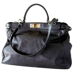 Iconic Fendi Large Black Leather Peekaboo Bag Tote Satchel with Zucca Lining