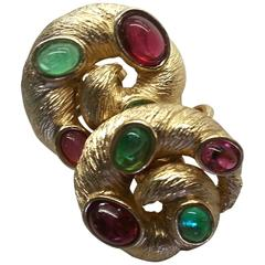 1960s TRIFARI Brushed Goldtone & Faux Ruby and Emerald Cabochon Clip On Earrings