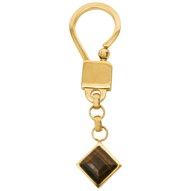 Judith Leiber TigersEye and Gold Plated Key Chain