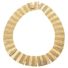 Textural Reticulated Gold Plated Vintage Collar Necklace