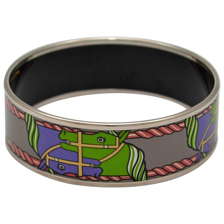 Hermes Equestrian Print Enamel Bangle Small Size 62 1