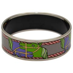 Hermes Paris Equestrian Print Enamel Bangle Small Size 62