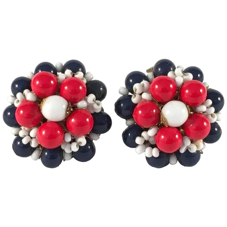 1960s Miriam Haskell Red, White and Blue Beaded Earrings