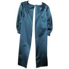 BARBARA TFANK Size 6 Teal Silk Satin Open Pleated Sleeve Evening Coat