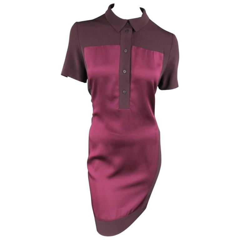 VICTORIA BECKHAM Size 10 Purple Crepe & Burgundy Satin Color Block Shirt Dress 1