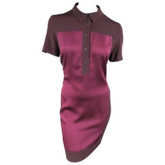 VICTORIA BECKHAM Size 10 Purple Crepe & Burgundy Satin Color Block Shirt Dress