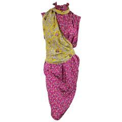 Vintage EMANUEL UNGARO Size 8 Fuchsia Floral Silk Yellow Sash Ruffle Shirt Dress
