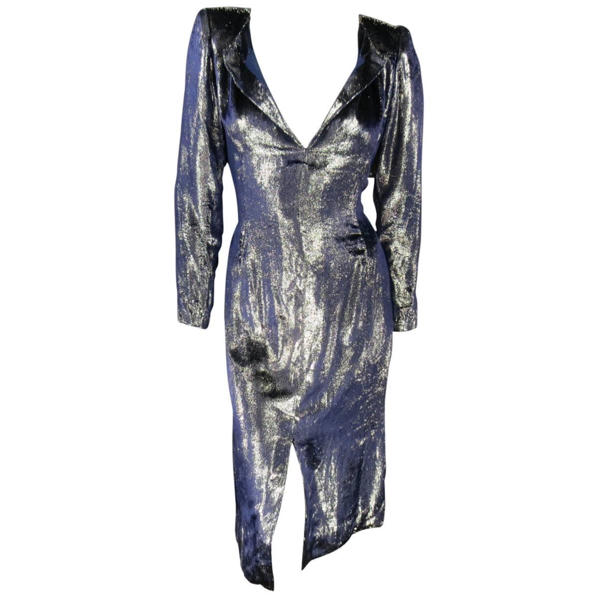 JEAN-LOUIS SCHERRER 2 Silver & Navy Metallic Velvet Long Sleeve Sheath Dress
