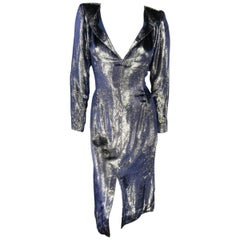 JEAN-LOUIS SCHERRER 2 Silver & Navy Metallic Velvet Long Sleeve Sheath Dress