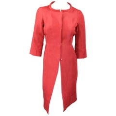 J. MENDEL Salmon Red Silk Evening Coat - Size 6