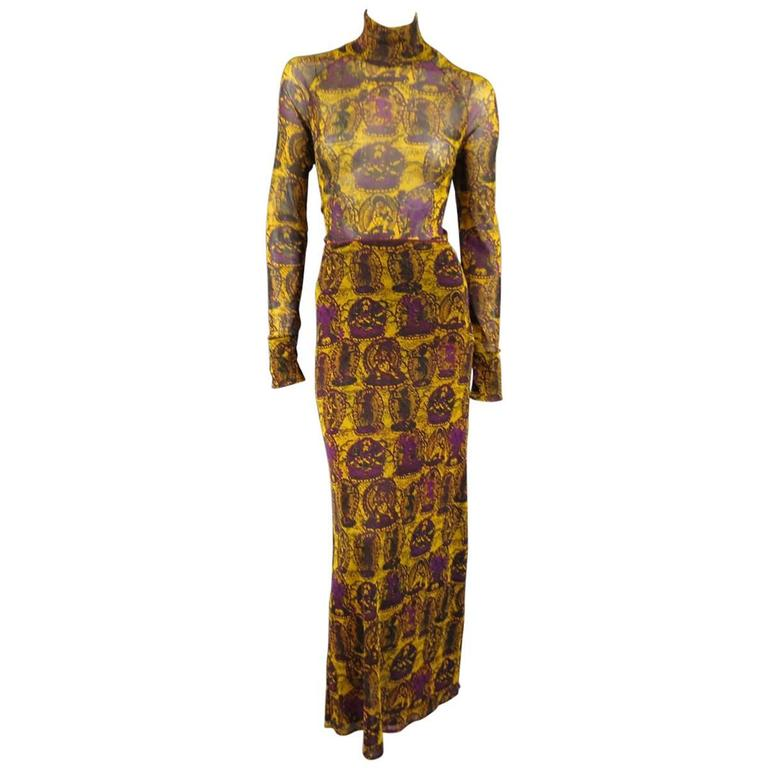 VIVIENNE TAM L Mustard & Purple Buddhist Print Mesh Turtleneck Maxi Skirt Set