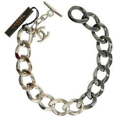 CHANEL 13K Chunky Chain CC Link Two Tone Metal Necklace