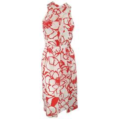NINA RICCI Size 10 White / Red Floral Print Silk Open Back Dress