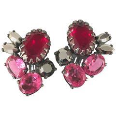 1950s Schiaparelli Pink and Red Rhinestone Earrings