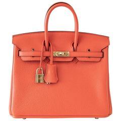 HERMES BIRKIN 25 Bag Orange Poppy Gold Hardware Clemence