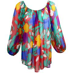 1979 Yves Saint Laurent Silk Chiffon Colorful Floral Print Blouse Documented YSL