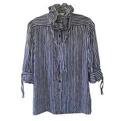 1970s Nina Ricci Navy and White Striped Silk Blouse