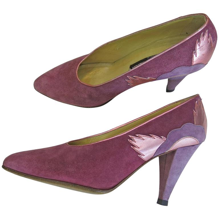 1980's Pink Suede and Foil Leather Maud Frizon Heels Size 6.5