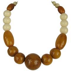 Vintage Amber Bakelite Catalin 1940s Necklace