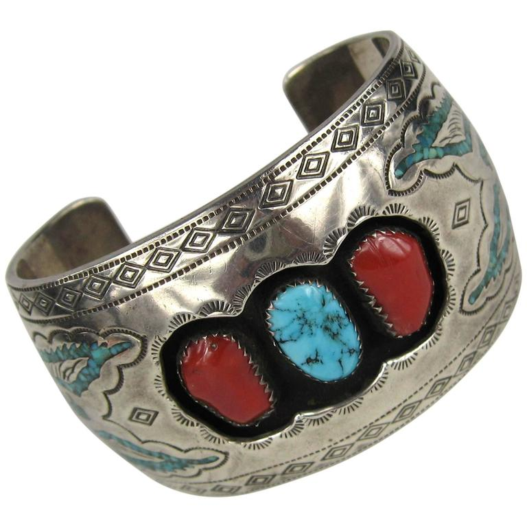 Navajo Sterling Silver Turquoise - Coral Shadow Box Cuff Bracelet  For Sale