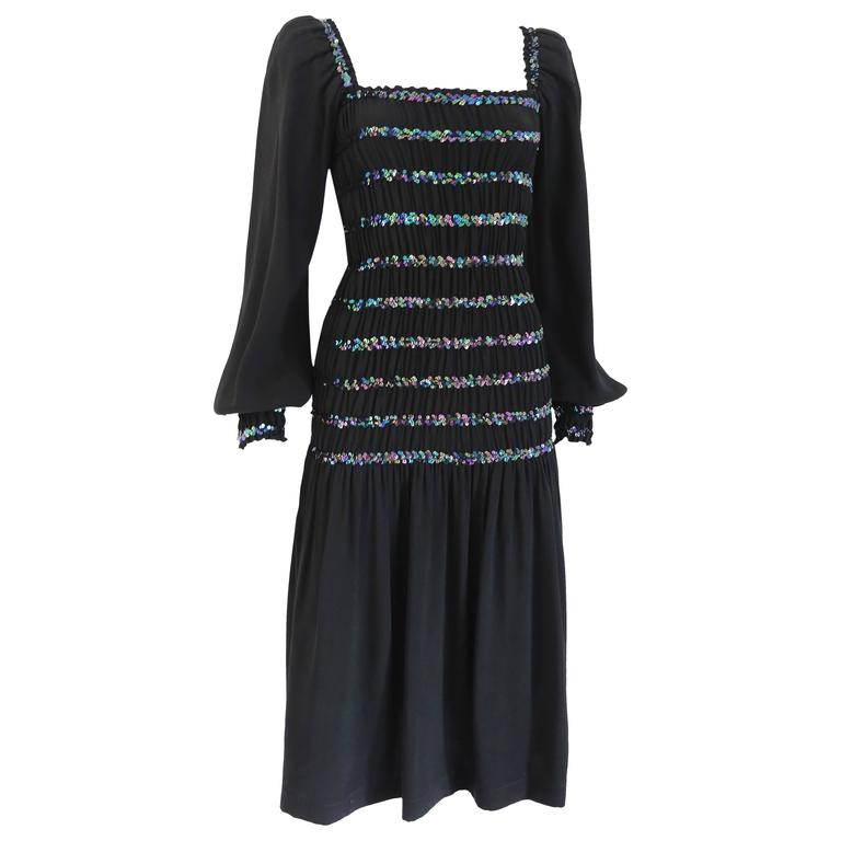 Yves Saint Laurent smocked black evening dress with sequins, c. 1976-77 For Sale