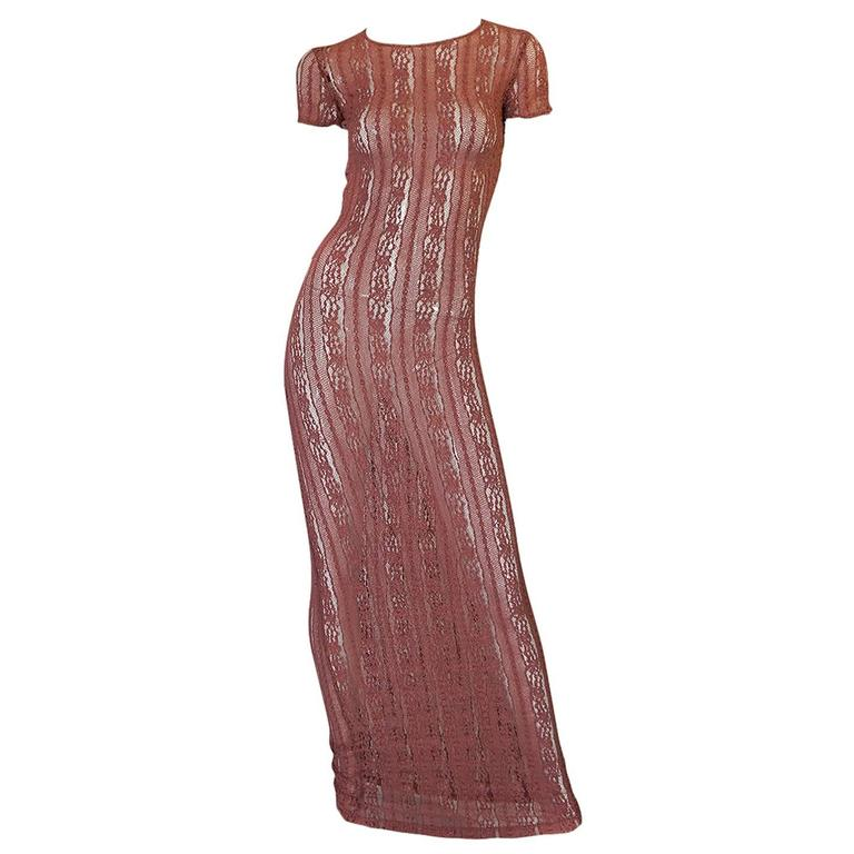 1990s Dusky Rose John Galliano Open Weave Knit Dress 1