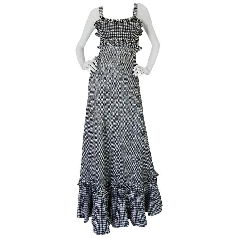 Recent Chanel Black & White Gingham Check Knit Maxi Dress