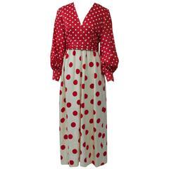 1970s Polka Dot Maxi Dress