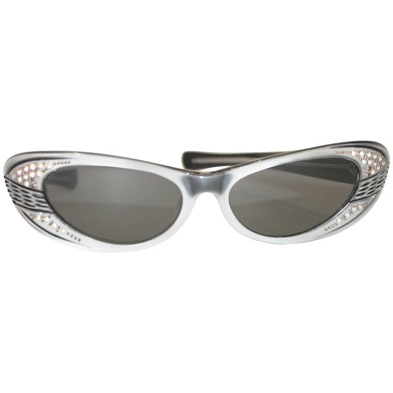 1960s Made in France Cat Eye Rhinestone Metallic Sunglasses