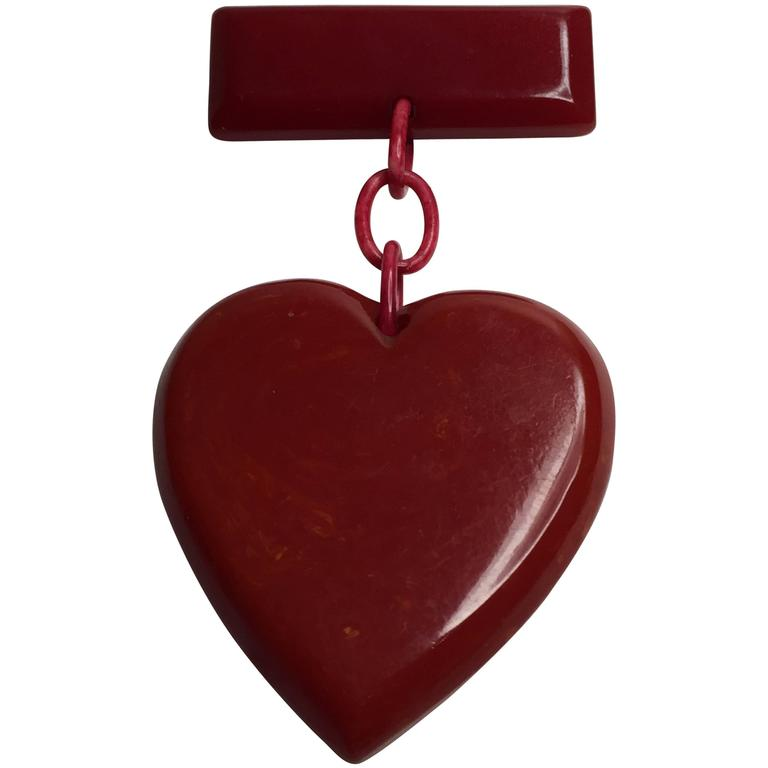 1930s RED Bakelite Suspended Heart from Bar Pin Brooch 1