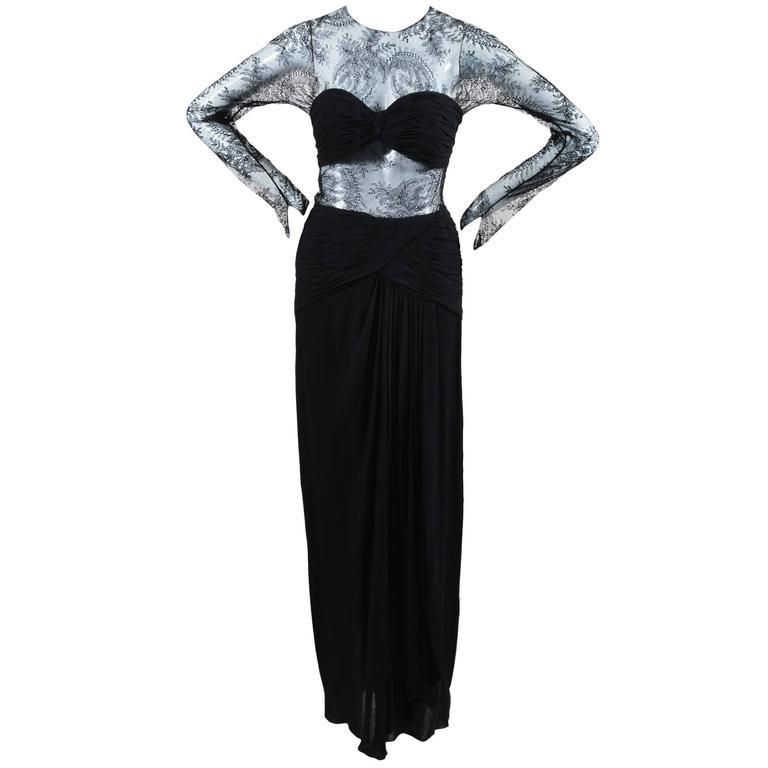 Oscar de la Renta Black Floral Lace Sheer Sleeve Cut Out Gown SZ 8 1