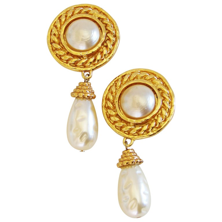 Edouard Rambaud Large Clip Style Baroque Pearl Dangle Earrings, 1970s For Sale