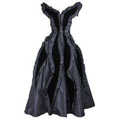 1980's Loris Azzaro Taffeta & Velvet Gown
