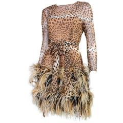 1990 Bill Blass Chiffon Cocktail Dress with Animal Print & Feather Trim