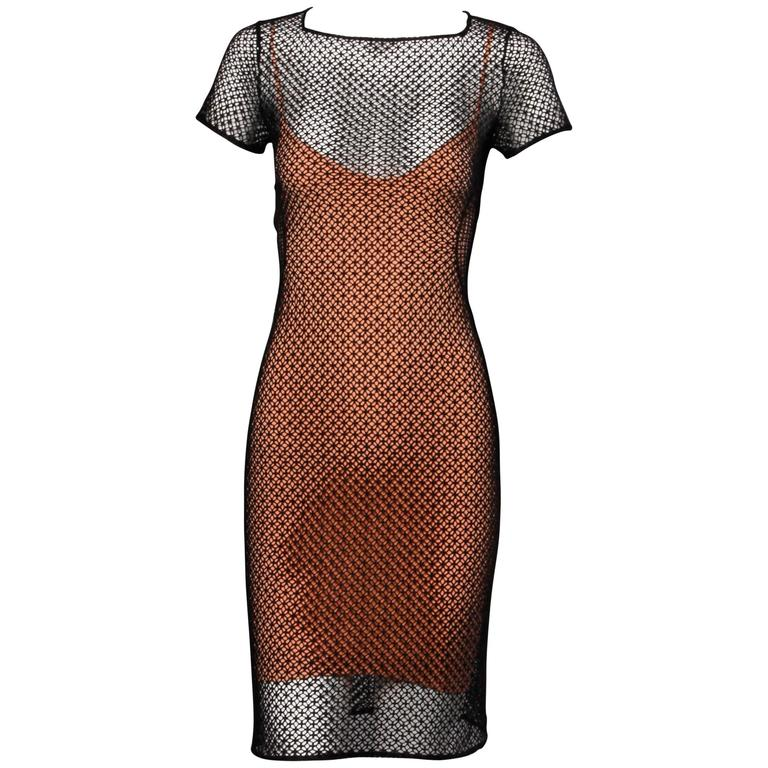Alaia Unworn with Tags Sheer Balck Mesh Nude Illusion Two-Piece Body Con Dress For Sale