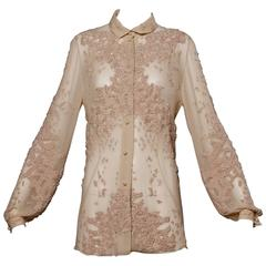 Spectacular Chado Ralph Rucci Sheer Nude Silk Cut Out Embroidery Blouse Top
