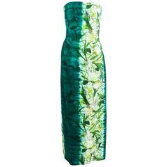 Oscar De La Renta Green Cotton Silk Floral Print Strapless Gown SZ 8