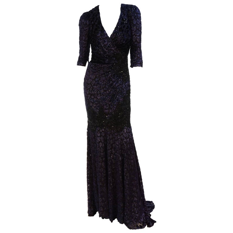 Andrew Gn embellished midnight leopard print devore velvet dress For Sale
