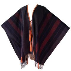 Hermes Cashmere Wool Fringed Rocabar Poncho with Leather Tassels New