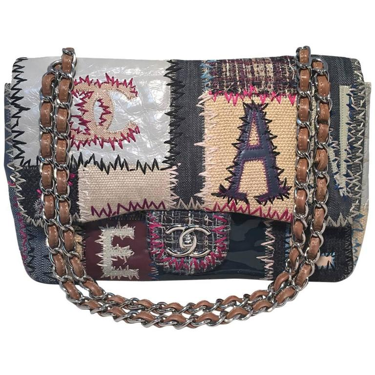 Chanel Patchwork Denim Tweed and Leather Jumbo Classic Flap Shoulder Bag For Sale