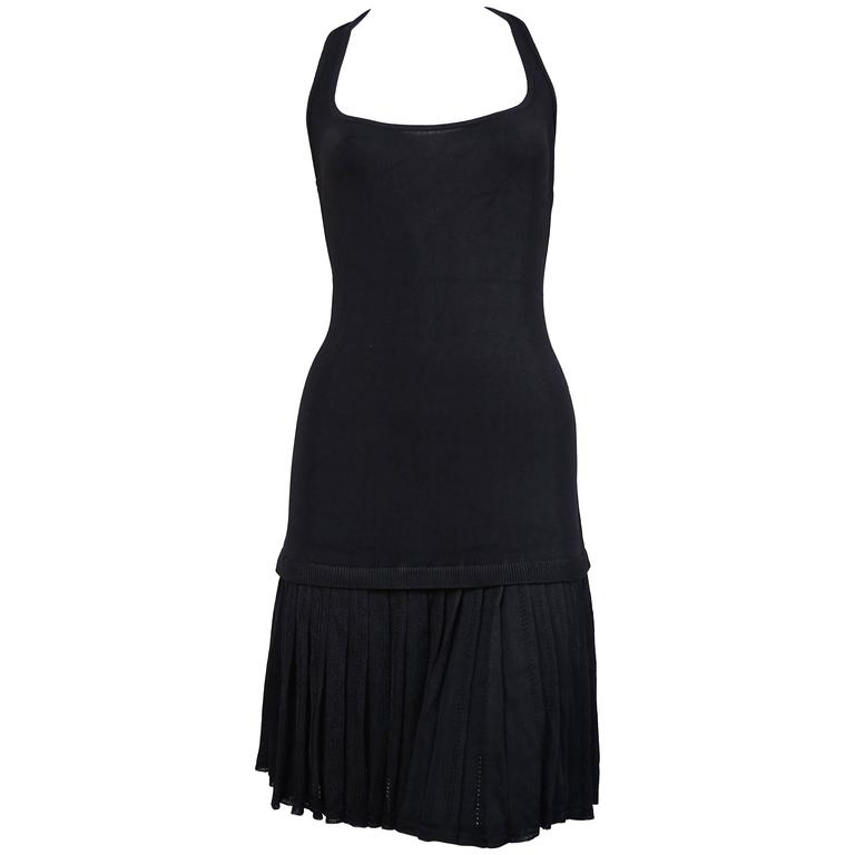 1990's AZZEDINE ALAIA black knit dress with pleated skirt For Sale