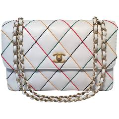 Chanel White Caviar Rainbow Stitch Medium Classic Flap Shoulder Bag